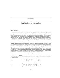 Applications of Integration CHAPTER 5 5.1. Volume