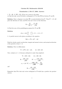 Calculus III, Mathematics 2210-90 Examination 1, Feb 5,7, 2004: Answers −