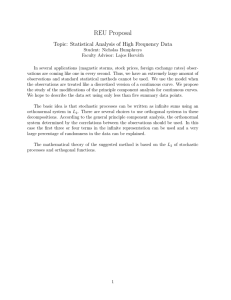 REU Proposal Topic: Statistical Analysis of High Frequency Data