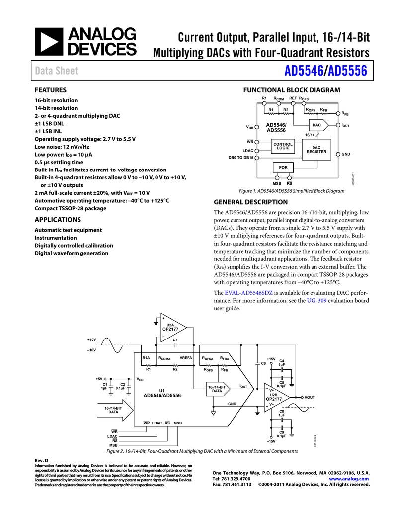 Figure 729 Opamp Example Ad5546 Ad5556 Current Output Parallel Input 16 14 Bit