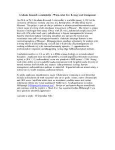 Graduate Research Assistantship – White-tailed Deer Ecology and Management