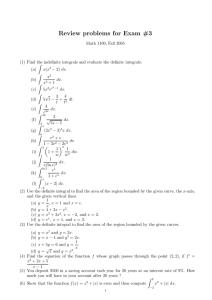 Review problems for Exam #3