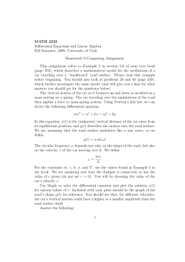 MATH 2250 Differential Equations and Linear Algebra Homework 9 Computing Assignment