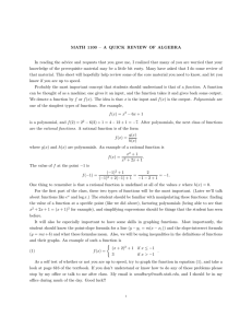 MATH 1100 – A QUICK REVIEW OF ALGEBRA