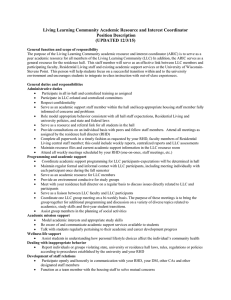 Living Learning Community Academic Resource and Interest Coordinator (UPDATED 12/3/15) Position Description