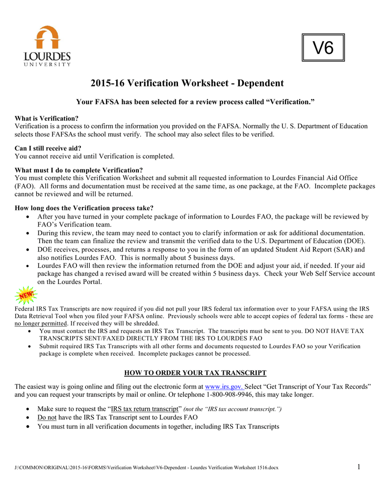2015-16 Verification Worksheet - Dependent