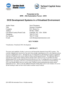 DCS Development Systems in a Virtualized Environment