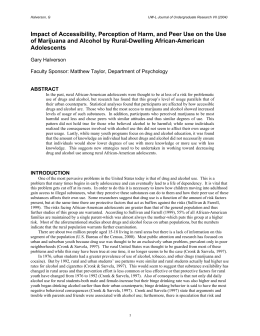 Impact of Accessibility, Perception of Harm, and Peer Use on... of Marijuana and Alcohol by Rural-Dwelling African-American