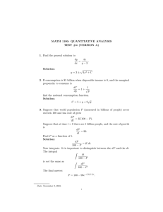 MATH 1100: QUANTITATIVE ANALYSIS TEST #4 (VERSION A) dy