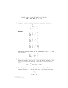 MATH 1100: QUANTITATIVE ANALYSIS FALL 2001 FINAL EXAM