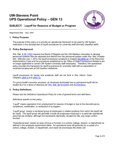 UW-Stevens Point – GEN 13 UPS Operational Policy