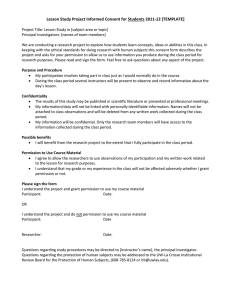 Lesson Study Project Informed Consent for Students 2011-12 [TEMPLATE]