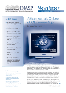 Newsletter African Journals OnLine www.ajol.info By Sioux Cumming