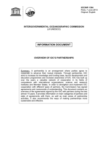INFORMATION DOCUMENT INTERGOVERNMENTAL OCEANOGRAPHIC COMMISSION OVERVIEW OF IOC'S PARTNERSHIPS