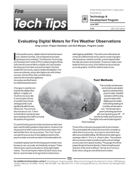 Tech Tips I Fire Evaluating Digital Meters for Fire Weather Observations