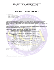 PRAIRIE VIEW A&M UNIVERSITY  STUDENT COURT VERDICT
