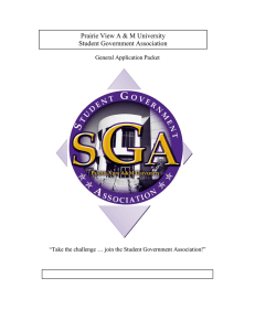 Prairie View A & M University Student Government Association General Application Packet