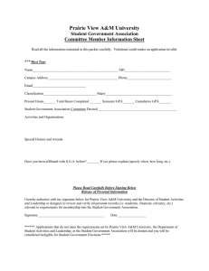 Prairie View A&M University Student Government Association Committee Member Information Sheet