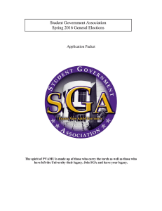 Student Government Association Spring 2016 General Elections  Application Packet