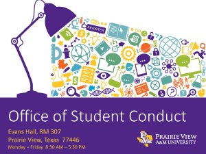 Office of Student Conduct Evans Hall, RM 307