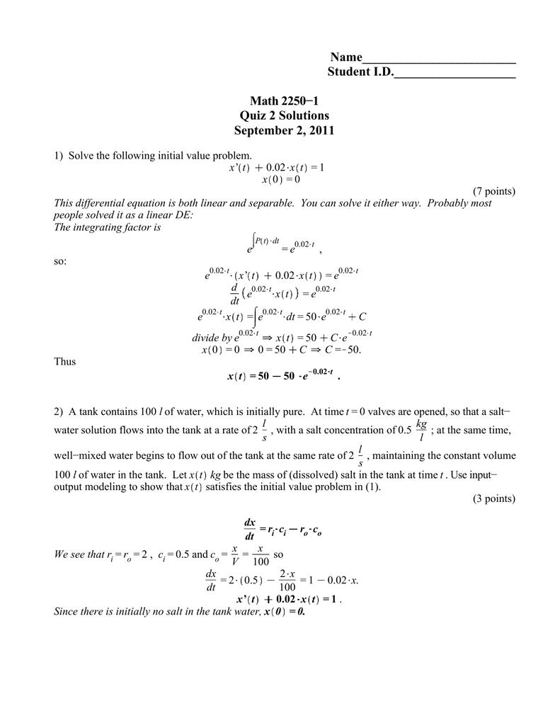 Name________________________ Student I D  Math 2250−1 Quiz