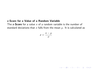 z-Score for a Value of a Random Variable