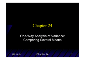 Chapter 24 One-Way Analysis of Variance: Comparing Several Means 1