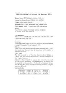 MATH 2210-001: Calculus III, Summer 2012
