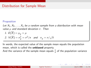 Distribution for Sample Mean