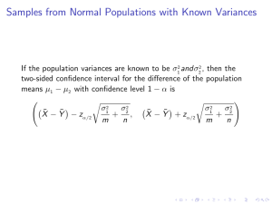 Samples from Normal Populations with Known Variances