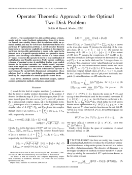 Operator Theoretic Approach to the Optimal Two-Disk Problem , Member, IEEE (3)