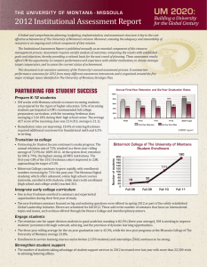 2012	Institutional	Assessment	Report UM 2020: Building a University for the Global Century