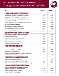 Strategic Achievement Report Card 2011 THE UNIVERSITY OF MONTANA - MISSOULA