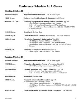 Conference Schedule At A Glance Monday, October 26  UC 3