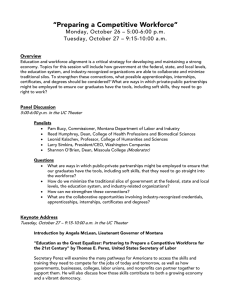 """Preparing a Competitive Workforce"" Monday, October 26 – 5:00-6:00 p.m."