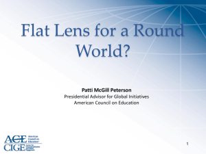Flat Lens for a Round World? Patti McGill Peterson