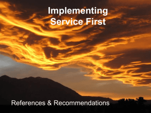 Implementing Service First References & Recommendations