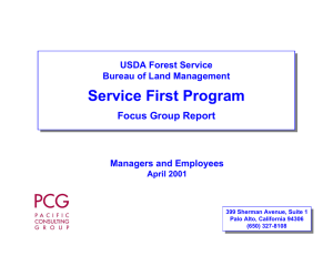 Service First Program Focus Group Report USDA Forest Service Bureau of Land Management