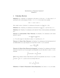 1 Calculus Review Introduction to Numerical Analysis I Handout 1