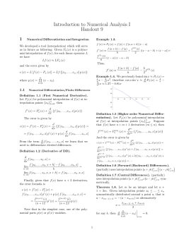 Introduction to Numerical Analysis I Handout 9 1