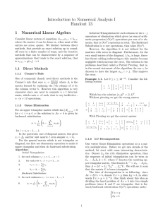 Introduction to Numerical Analysis I Handout 13 1 Numerical Linear Algebra
