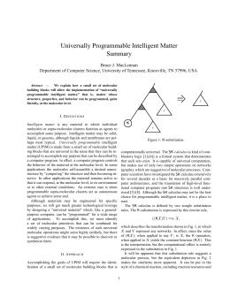 Universally Programmable Intelligent Matter Summary Bruce J. MacLennan