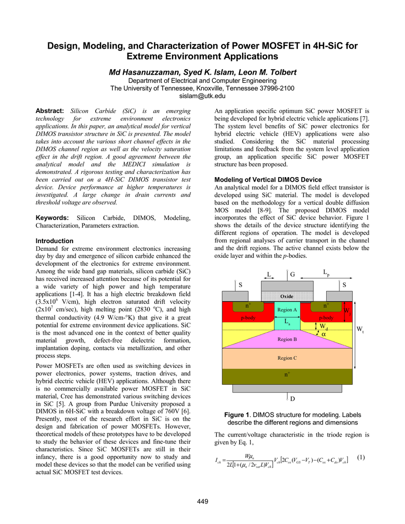 Design Modeling And Characterization Of Power Mosfet In 4h Sic For Double Diffused Mos Dmos