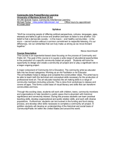 Community Arts Project/Service Learning University of Montana School Of Art Syllabus