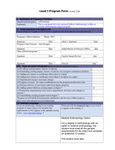 Level I Program Form  Department/program Summary