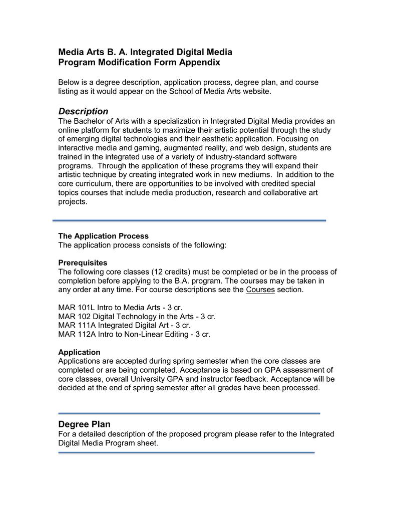 Media Arts B. A. Integrated Digital Media Program Modification Form ...