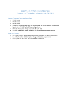 Department of Mathematical Sciences: Summary of Curriculum Submissions in Fall 2015