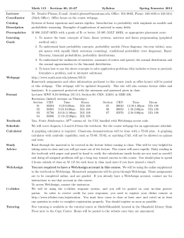 Math 115 – Sections 00, 01-07 Syllabus Spring Semester 2013 Lecturer