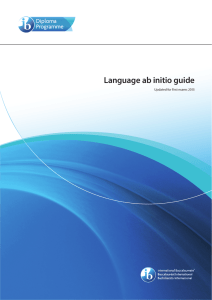 Language ab initio guide Updated for first exams 2015