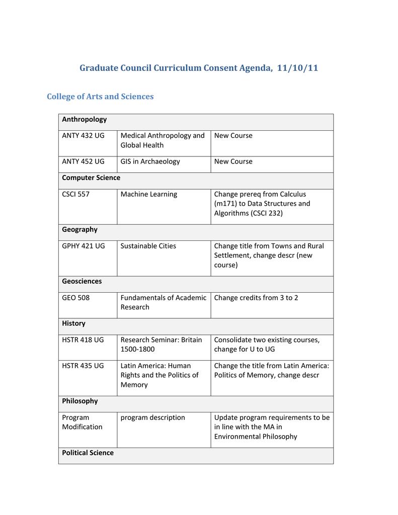 Graduate Council Curriculum Consent Agenda, 11/10/11